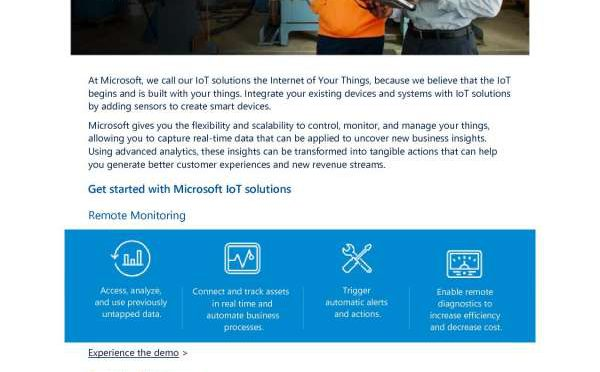 Connect your business with IoT. Get started with Microsoft IoT!