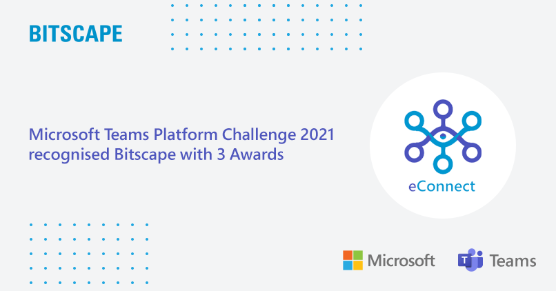 Microsoft Teams Platform Challenge 2021 recognized Bitscape with 3 Awards